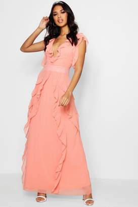 boohoo Boutique Waterfall Ruffle Maxi Dress