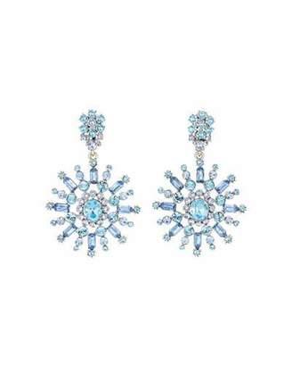 Oscar de la Renta Flower Crystal Drop Earrings