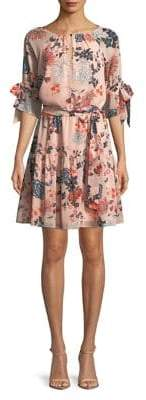 Vince Camuto Self-Tie Floral Dress