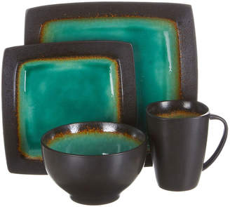 Gibson Home Precious Stone 16-Piece Square Dinnerware Set
