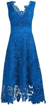 Roland Mouret KIMILILY Women's V Neck Floral Lace Cocktail Evening Midi Dress(N,S)