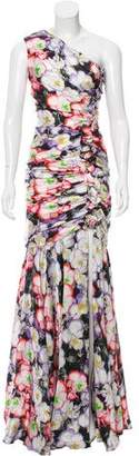 Naeem Khan Floral Print Evening Dress
