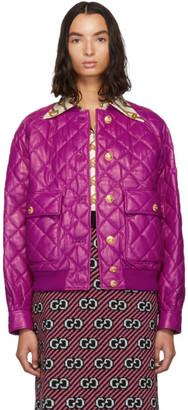 Gucci Pink Quilted Bomber Jacket