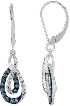 FINE JEWELRY 5/8 CT. T.W. White & Color-Enhanced Blue Diamond 10K Gold Dangle Earrings