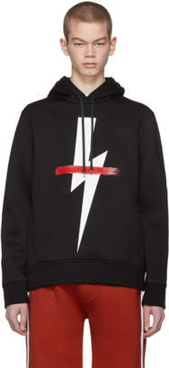 Neil Barrett Black Crossed-Out Thunderbolt Hoodie