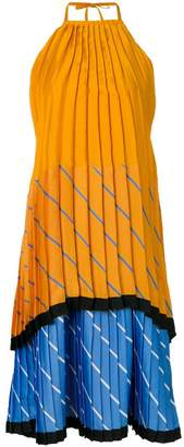 Victoria Beckham Victoria pleated tiered colour block dress