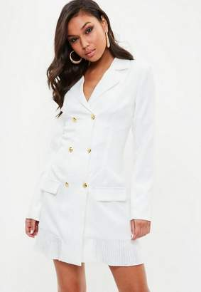 Missguided Tall White Tailored Gold Button Blazer Dress