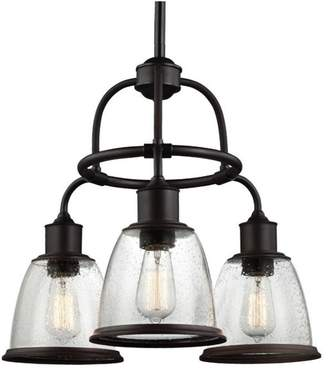 Feiss Hobson 3 Lights Clear Seeded Glass Chandelier