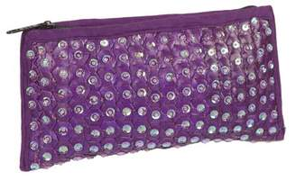Global Treasures Handmade Violet Sequin & Banana Leaf Purple Clutch Handbag