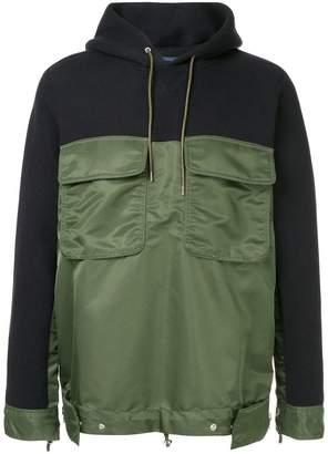 Sacai contrast panel hoodie