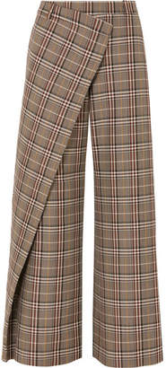 Monse Wrap-effect Checked Wool-blend Canvas Wide-leg Pants - Tan