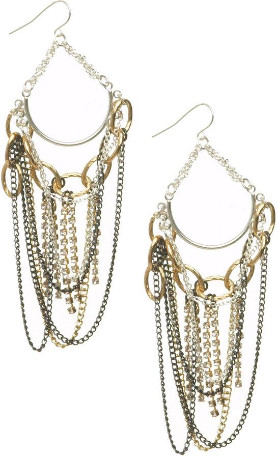 Mixed Chain Draped Chandelier Earrings