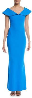 Chiara Boni Joanna Mermaid Evening Gown with Wide Collar