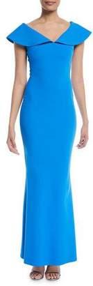 Chiara Boni Joanna Mermaid Evening Gown with Wide Collar