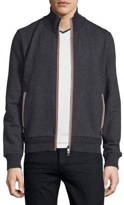 Moncler Logo-Stripe Track Jacket, Charcoal $385 thestylecure.com