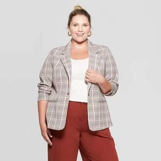 Ava & Viv Women's Plus Size Plaid Blazer - Ava & VivTM Brown