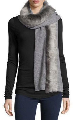 UGG Luxe Wool-Blend Scarf w/ Toscana Fur Trim, Gray $375 thestylecure.com