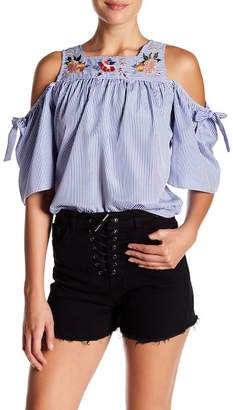Love + Harmony Shoulder Cut Out Stripe And Floral Flared Blouse