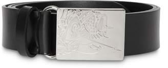 Burberry EKD Plaque Buckle Leather Belt
