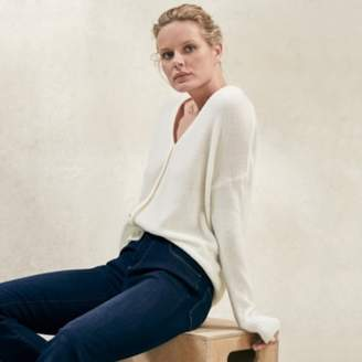 The White Company Button Through Cardigan with Alpaca, Porcelain, Large