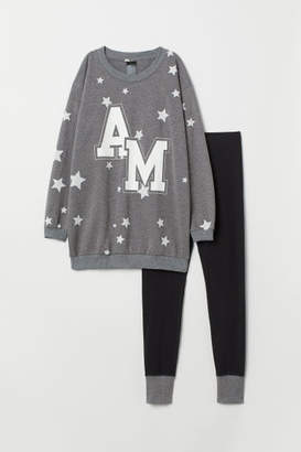 H&M Pajama Top and Leggings - Gray