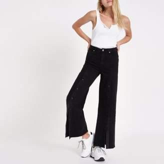 River Island Womens Black popper front split wide leg jeans