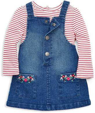 Little Me Baby Girl's 2-Piece Striped Cotton Top Denim Jumper Dress Set