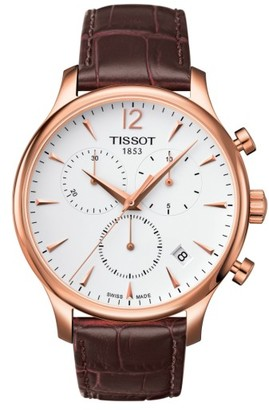 Tissot Tradition Chronograph Leather Strap Watch, 42Mm $495 thestylecure.com