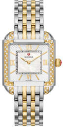 Two-Tone Square Watch w/ Diamonds & Bracelet Strap