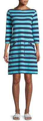 Joan Vass 3/4-Sleeve Striped Cotton Shift Dress, Plus Size