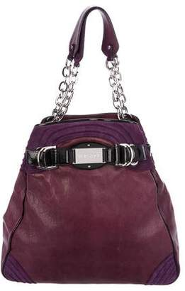 Versace Suede-Trimmed Leather Tote
