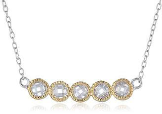 18k Yellow Gold Plated Sterling Silver Two-Tone Cubic Zirconia Five-Stone Bar Necklace (0.5 cttw)