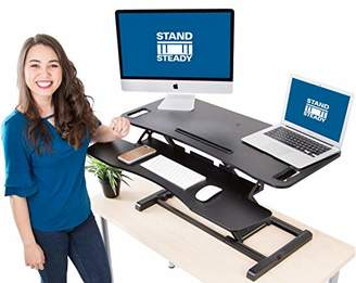 """Stand Steady Flexpro Hero Two Level Standing Desk - Easily Sit or Stand in Seconds! Large Work Space w/Removable Extra Level for Keyboard & Mouse! (Large (37""""))"""