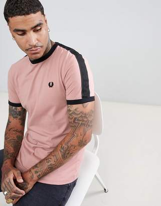 Fred Perry Sports Authentic tonal taped t-shirt in pale pink