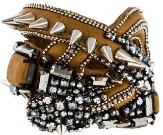 Barbara Bui Barbara Bui Leather Crystal Spike Cuff