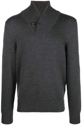 Fay toggle high V-neck sweater