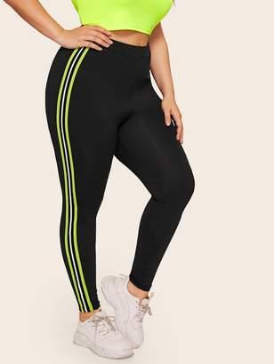 Shein Plus Contrast Neon Lime Striped Leggings