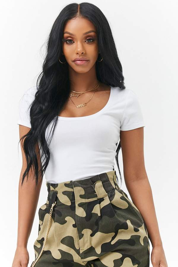 Forever 21 Scoop Neck Cropped Tee