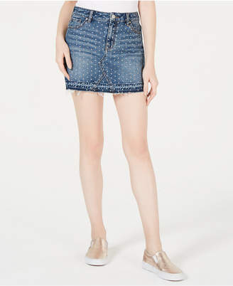 KENDALL + KYLIE Studded Cotton Denim Skirt