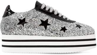 Chiara Ferragni 50mm Glittered Platform Sneakers