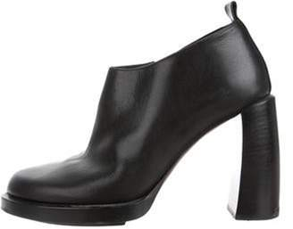 Ann Demeulemeester Leather Round-Toe Ankle Booties Black Leather Round-Toe Ankle Booties