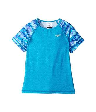 Speedo Kids Printed Short Sleeve Rashguard (Little Kids/Big Kids)