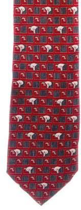 Versace Silk Floral Grecca Print Tie