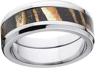 Mossy Oak Shadow Grass Men's Camo 8mm Stainless Steel Wedding Band with Polished Edges and Deluxe Comfort Fit