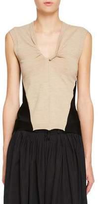 Chloé Double-Sided Twisted V-Neck Sleeveless Jersey Knit Top