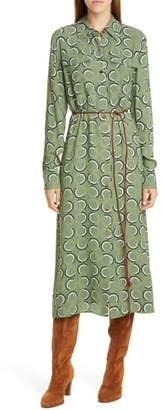 Lafayette 148 New York Mandalyn Print Long Sleeve Midi Shirtdress
