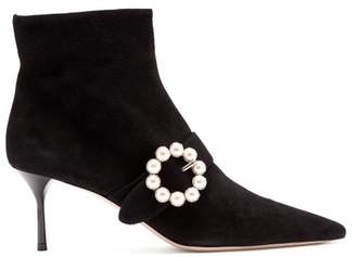 Miu Miu Faux Pearl Buckle Suede Boots - Womens - Black