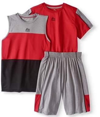 RBX Boys' 3-Piece Color Blocked Tee, Muscle Tank and Shorts Set