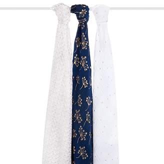 Aden Anais Aden + Anais aden + anais swaddle 100% cotton muslin 120cm X 120cm 3 pack metallic silver deco