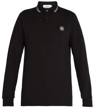 Stone Island Long Sleeved Stretch Cotton Pique Polo Shirt - Mens - Black